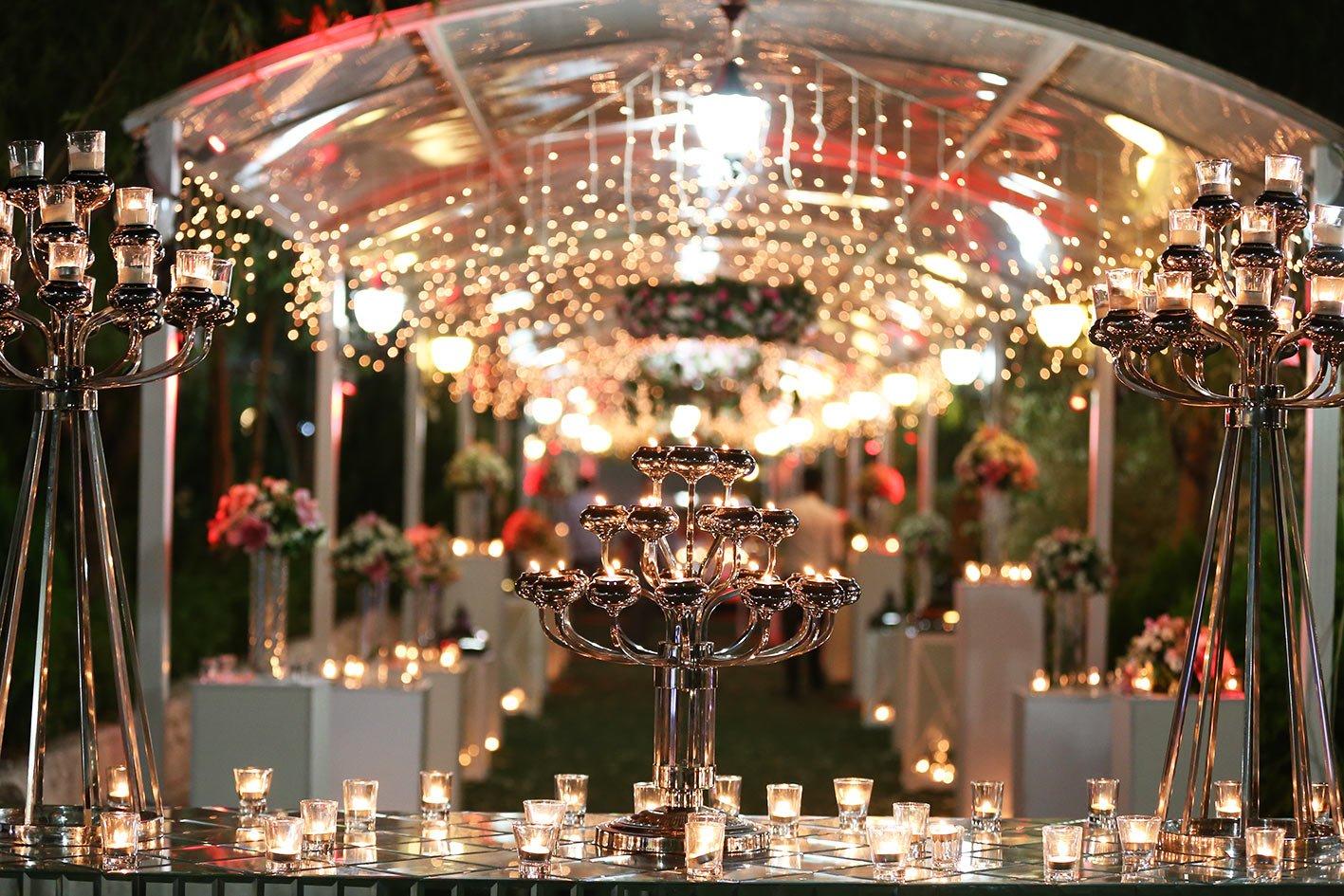نورپردازی مراسم عروسی و شمع آرایی سالن